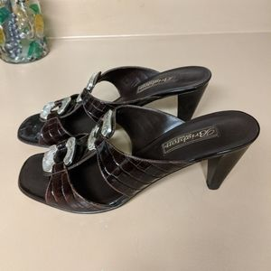 Brighton 'Ritz' Croc Leather Heeled Sandals 9.5